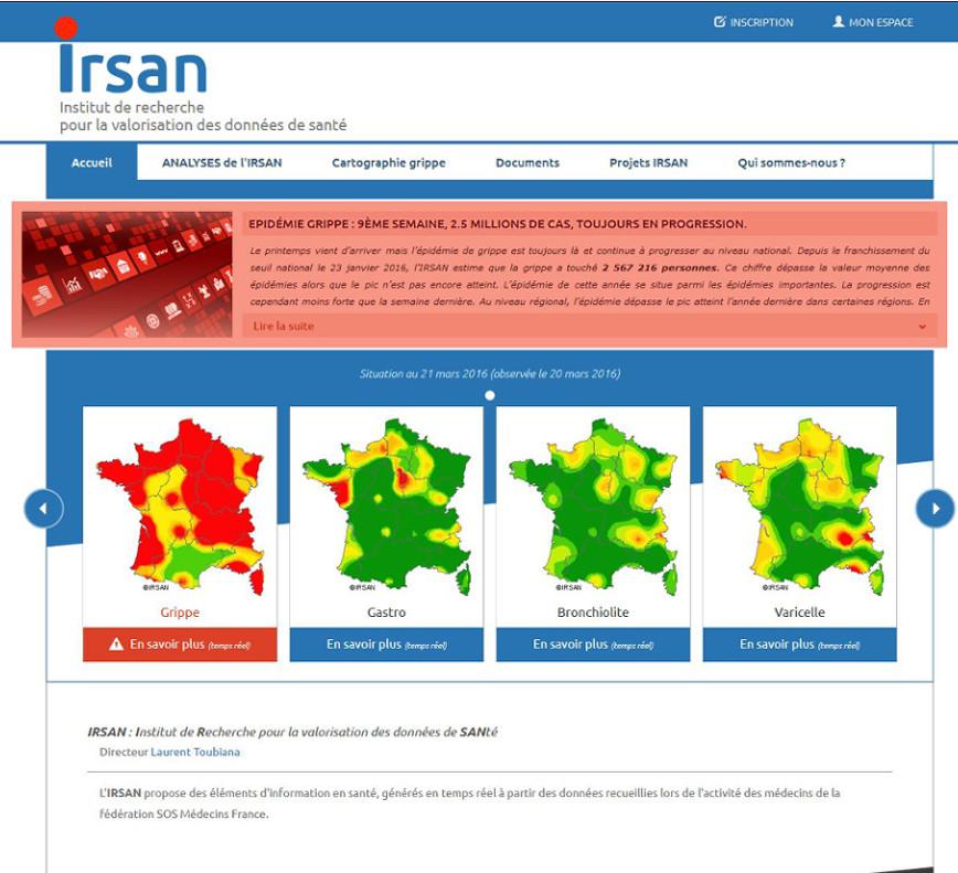IRSAN Recherche <span style='font-size: 8px' class='glyphicon glyphicon-refresh'></span><br>Surveillance des épidémies de grippe, de gastro, de varicelle et de bronchiolite.